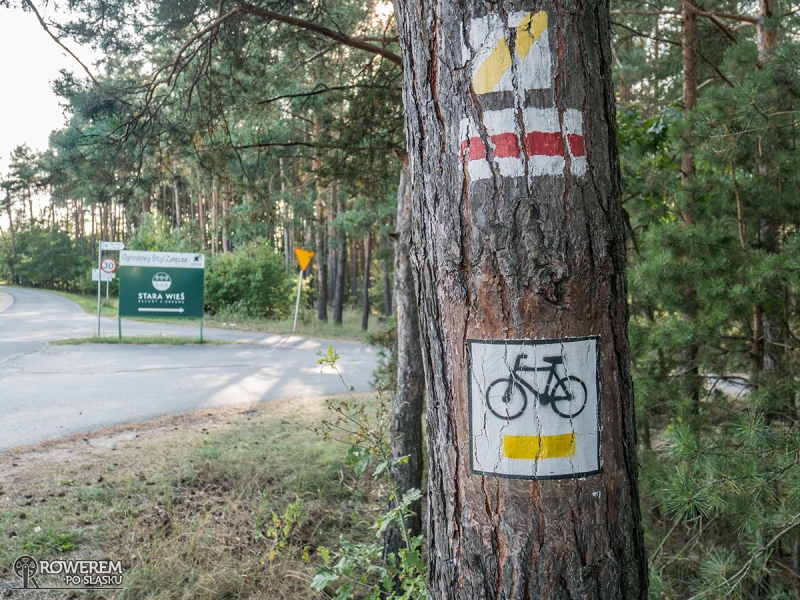 Żółte oznakowanie Szlaku Nadwarciańskich Krajobrazów