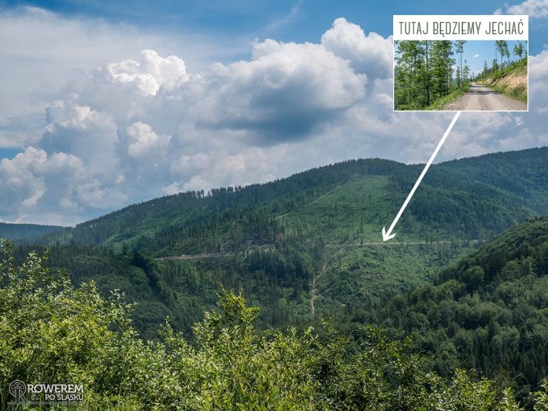 Widać też drogę, którą będziemy jechać do Mładej Hory