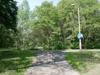 Oznakowanie czerwonego szlaku rowerowego w Katowicach