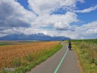 Droga rowerowa przez pola z widokiem na Tatry... Przed miastem Keżmarok